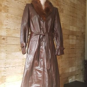 1970s leather and fur trench coat maroon belted